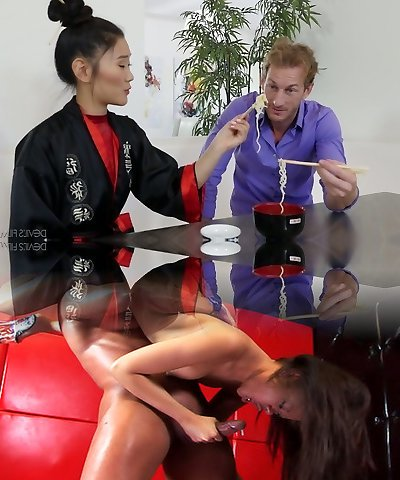 Hot Asian masseuse Katana taunts strong shaft in the nastiest way possible