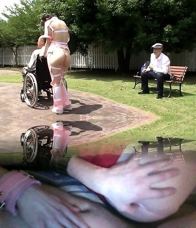 Subtitled weird Chinese half naked caregiver outdoors