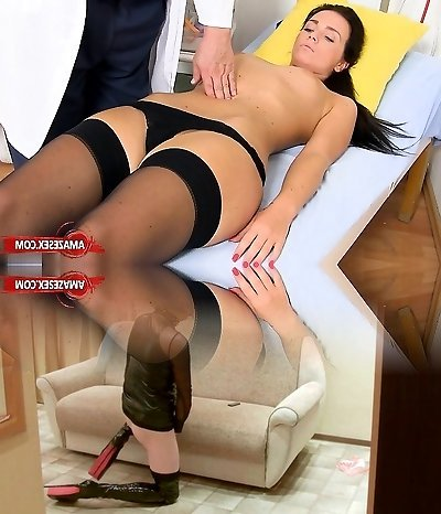 Brunette doctor gaping and cum shot