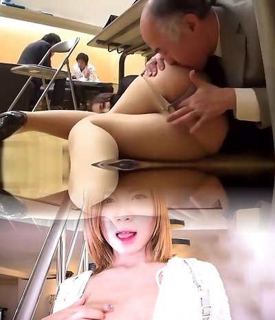 japanese Milf fucked by her aged manager at work next to other colleagues !