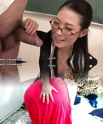 Steamy Japanese teacher in glasses Yui Komine deepthroats hard dick of her coworker