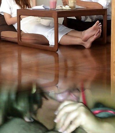 College Asian Candid Super-steamy FEET LEGS TOES Feet