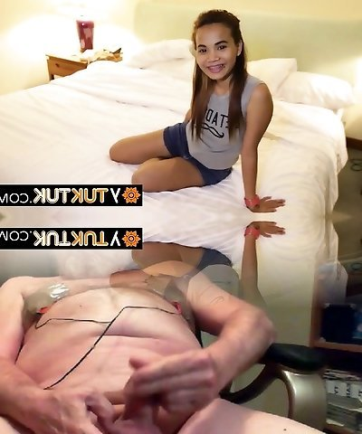 Petite hairy asian spreading her legs for a good poke