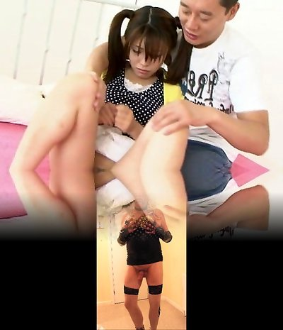 Ponytailed Asian chick shaved and nailed by t