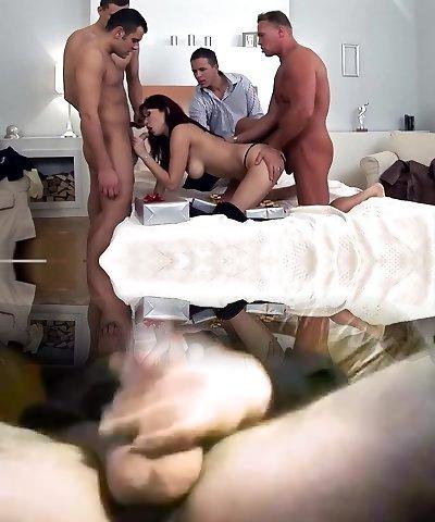 Epic pornstar Aisha Sun in fabulous gangbang, dark-haired sex scene