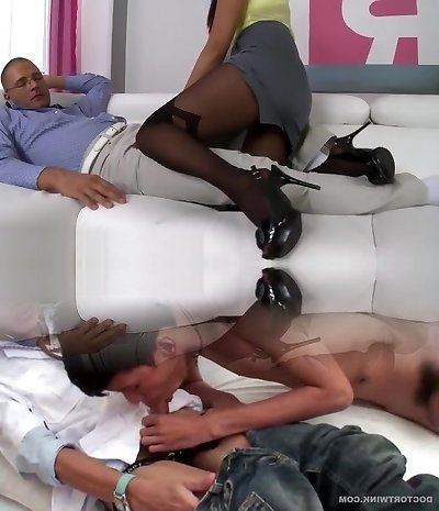 Sexy Asian honey Sharon Lee hard-core pantyhose fetish sex
