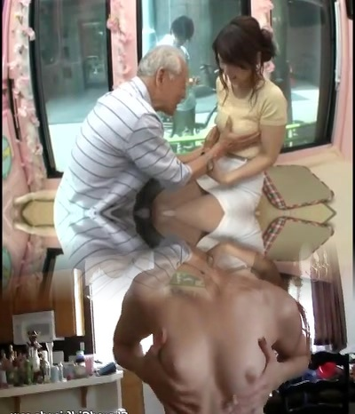 Candid young japan female be tempted by old man