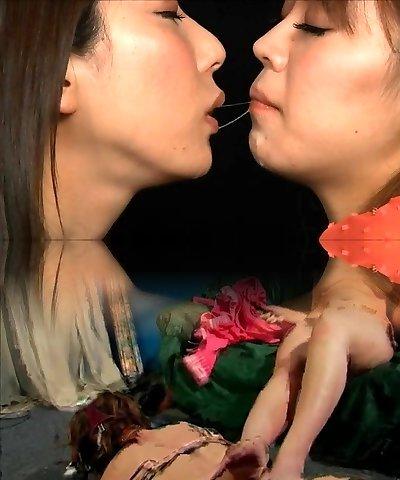 asian lesbian deep spit kiss
