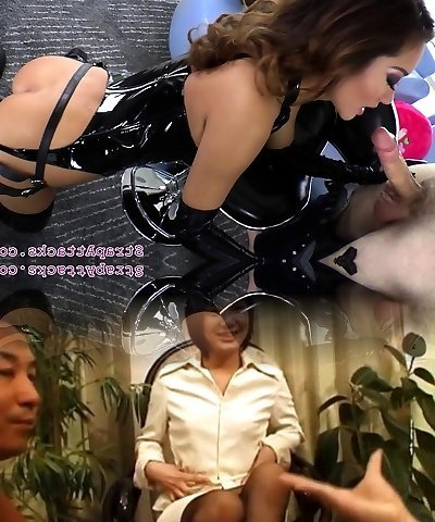 Asian prodomme disciplines marionette with strapon