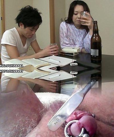 Sleepy but horny Japanese wife wanna get her bushy pussy plowed