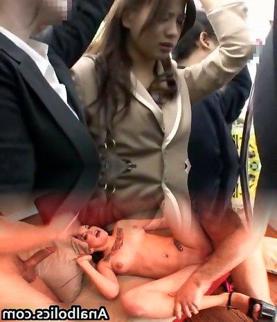 Crazy Japanese breezy Kyoko Maki, Azusa Maki, Kyouko Maki in Naughty Public JAV scene