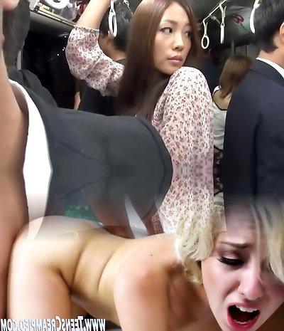 Horny Japanese super-bitch Nana Shiboku, Misaki Akino, Sena Sakura in Nasty Blowjob/Fera, Outdoor JAV episode