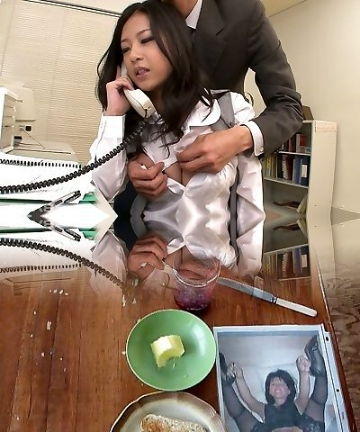 Awesome kawaii Japanese office biotch sucks two strenuous cocks at work