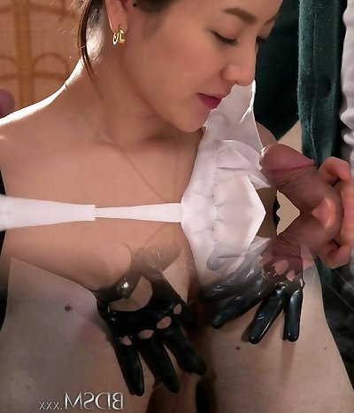 Charming Asian girl Anna Mihashi pleases two dudes with blowjobs