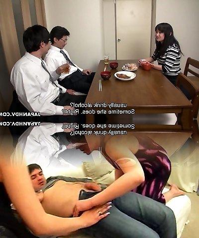 Too fatigued hubby falls asleep while his colleague fucks his wifey Risa Kurokawa