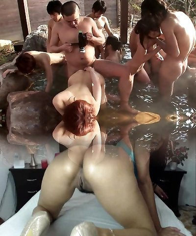 Hottest Japanese orgy party withs lots of cocksluts outdoors