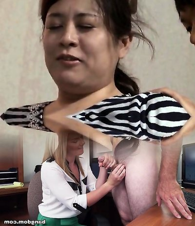 Asian bitch toying herself from behind