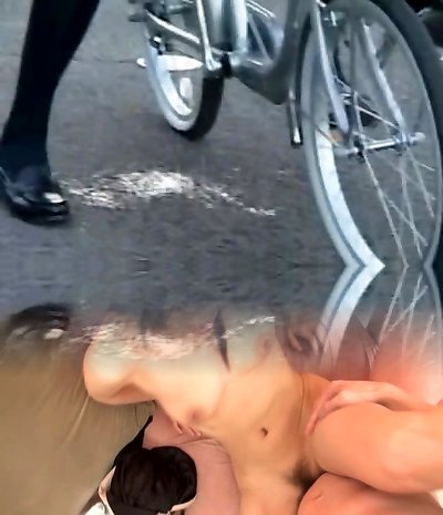 College Girl Splashes on a Bike in Public!