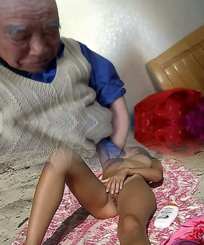 Asian granny is having joy with grandpa