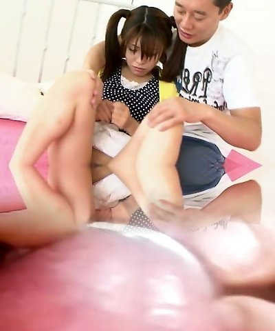 Ponytailed Japanese chick clean-shaved and nailed by t