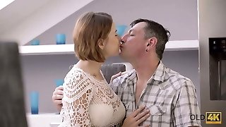 OLD4K. Experienced dad and buxom cutie commence fuckfest in...