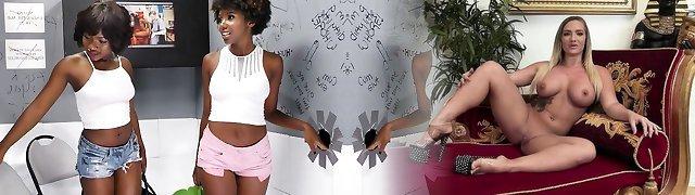 Ebony Girls Noemie Bilas und Daizy Cooper ficken weißen Gloryhole-Schwanz