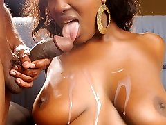 Hot ebony Aryana Starr inhaling and fucking our bone before she gets sprayed with jizm