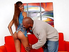 Thin and beautiful black chick rides a stiff cock like a true cow girl