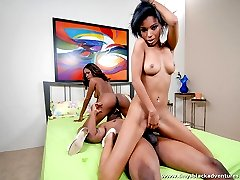 Two naughty sista get into some freaky fun with a hung brotha