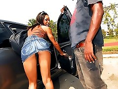 Black ho gets a thick black dong fucking her pussy hard