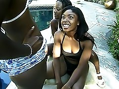 Three black girls fuck with dildos