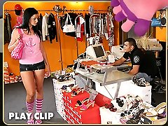 Amazing babe shopping for shoes gets banged on the couch by the clerk after helping her try on...
