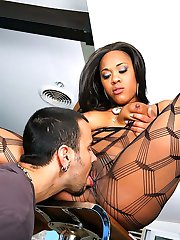 Amazing plump ass fish net stocking ebony babe gets her hot fucking body drilled hard against...