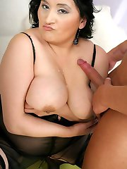 Horny BBW Claudia gets her boobies covered with cum after indulging in a harcore fucking session