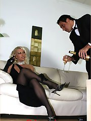 Lady Lana Cox has her hunky butler bathe her sexy little feet with champagne, then uses it to...
