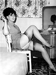 Cute gals get really strong pleasure while showing their bodies and legs in vintage lingerie on...