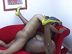 Ebony BBW gets a load squirted in her mouth as her reward