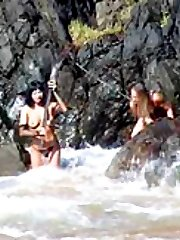 Submissive girl schooled, strapon-fucked and humiliated on the beach by her lesbo mistress
