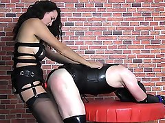 Strapon Jane gives her sweaty latex slut a quick hard fuck with big black cock