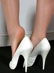 Michelle wears high heel shoes with a thin stiletto in one of her favourite sizes, 5 inches! As...