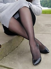 Gorgeous brunette Sophia gets out the office to walk and tease outdoors in nylon stockings and...