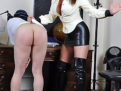 Naughty Schoolboy is caught wanking and so is sent to Mistress Carlys study to receive his...