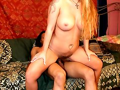 Busty blondie Joclyn Stone hooks up with her sugardaddy and rides his cock with her hairy pussy