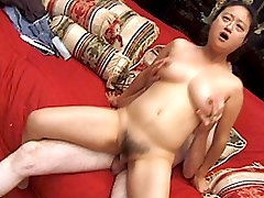 Horny Asian chick gets drilled in her hirsute pussy