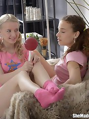 Giant lollipops were one of the things we enjoyed when she made us lesbians. They were naughty...