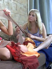 Hot lesbian babes in barely visible pantyhose sharing their lez experience