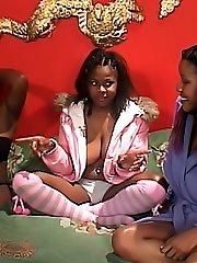 Horny black lesbians having a threesome