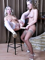Frisky blondie eagerly talked into lesbian anal by her strapon-armed girl