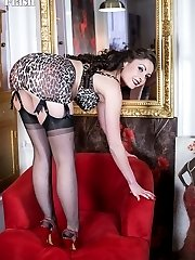 Sophia is really dressed up in a silk dress and fabulous rare vintage leopard print lingerie and...