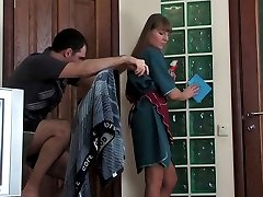 Older housemaid blowing rod and getting her tights pushed down for hot anal